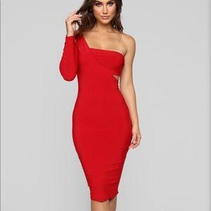 Fashion Nova Red Dress with Bandeau Top